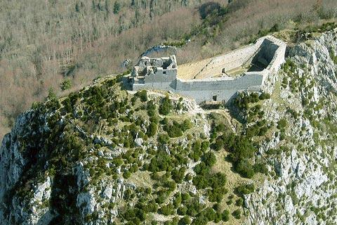 Aerial view of Montsegur Castle