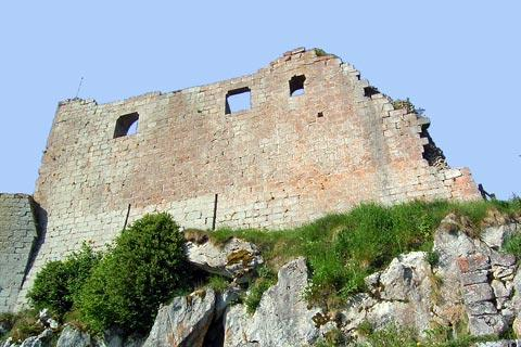 Imposing walls of the Montségur Castle