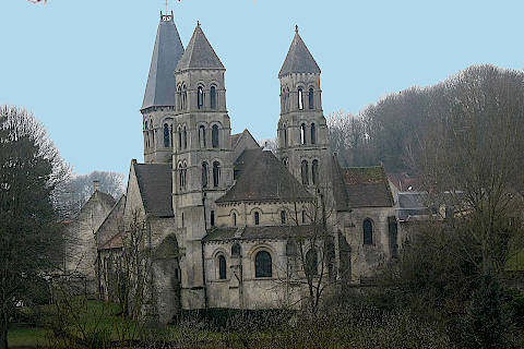Outside view of the Abbey of Notre-Dame in Morienval