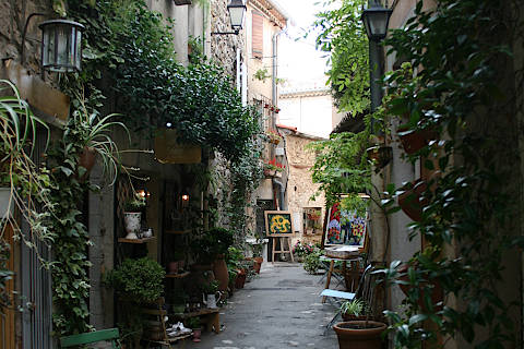 Art galleries in the historic centre of Mougins