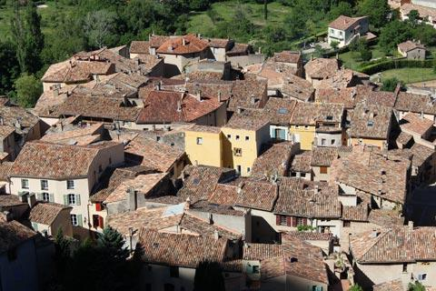 View across the roofs of Moustiers-Sainte-Marie