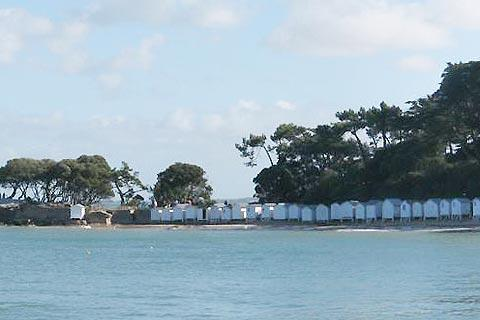Beach huts on the Plage des Dames on Noirmoutier