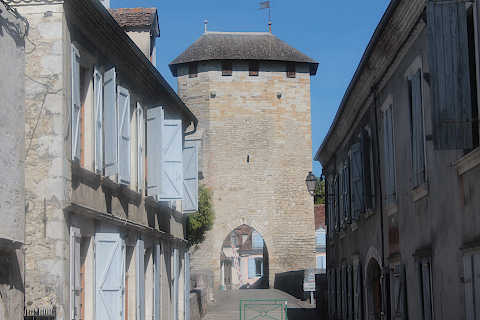 Medieval houses and gateway on bridge in Orthez
