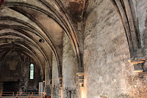 Vaulted ceiling in hall of Beauport abbey