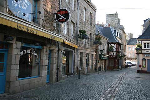 Street of granite houses in Paimpol