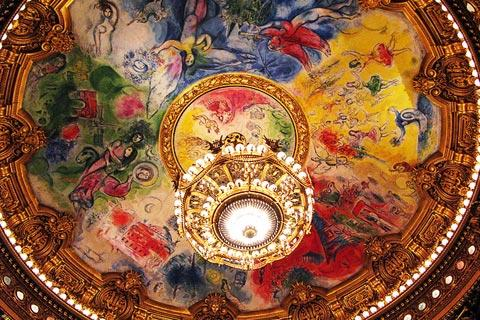 the dome painted by Marc Chagall in Opera Garnier