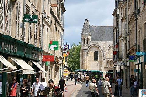 Shopping street in historic centre of Poitiers