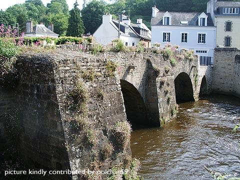 Stone bridge and river in center of Quimperlé