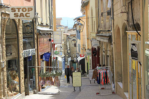 Street of shops in Romans-sur-Isere