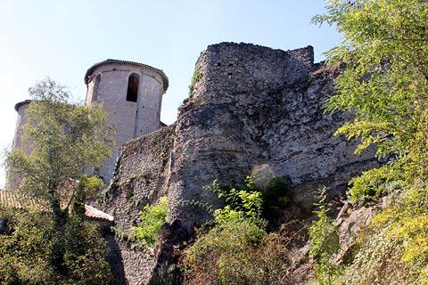 Ancient fortifications on edge of Saint-Lizier village