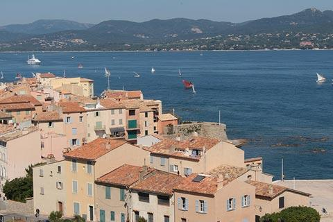 Roofs and Mediterranean view in Saint-Tropez