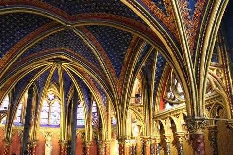 bright colours of the lower chapel in Sainte-Chapelle