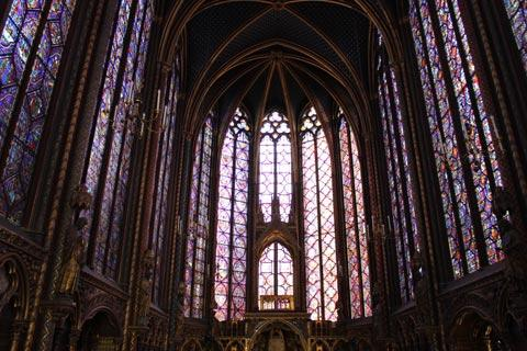 stained glass windows in the upper chapel in Sainte-Chapelle