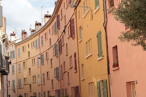 Colourful houses in the historic centre of Sanary