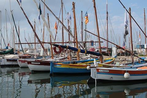 Historic boats in the harbour at Sanary-sur-Mer
