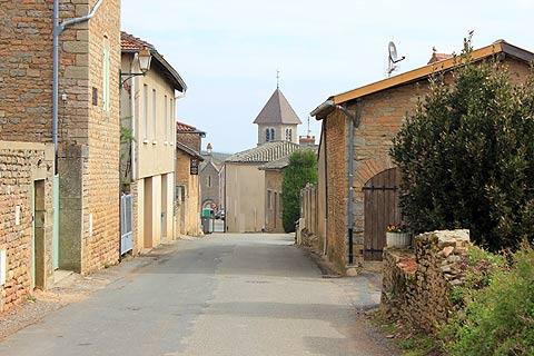 Road to the church in Solutre-Pouilly