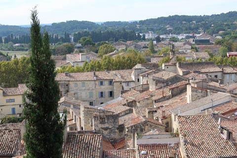 view across Sommières rooftops