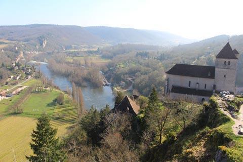 Eglise et Lot rivière vu du château