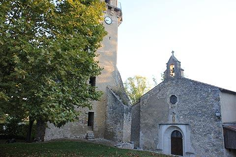 Church and donjon in Tourtouse
