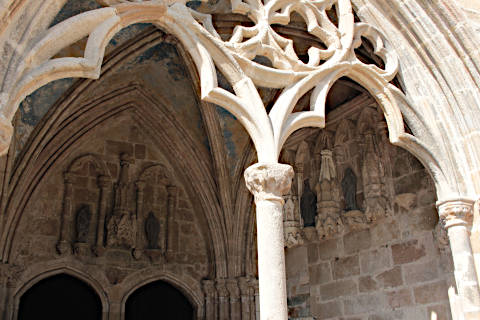 Gothic style cathedral porch with statues