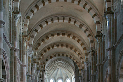 ceiling of the nave in basilica of Vézelay