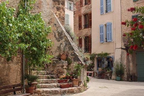 Stone steps in the historic centre of Villecroze